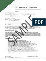 Functional Behavior Assessment Sample