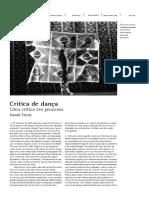 uma critica de dança em processo de Daniel Tércio