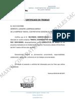 Certificado Wilfredo Cerrón Meza