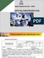 GERENCIAMENTO NA CONSTRUCAO CIVIL