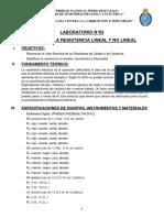 LAB 03 MEDIDA DE LA RESISTENCIA LINEAL Y NO LINEAL