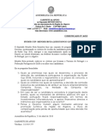 MB - Comunicado 14-XI - Ryder Cup - Mendes Bota Questionou Governo