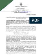 MB - COMUNICADO 20-XI - MENDES BOTA QUER RATIFICAÇÃO DA CONVENÇÃO SOBRE ABUSOS SEXUAIS DE CRIANÇAS