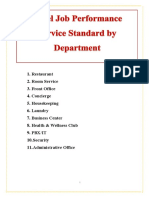 HOTEL JOB PERFORMANCE STANDARD BY  DEPARTMENT
