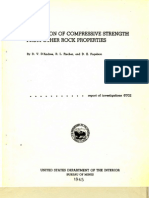 Prediction of Compressive Strength From Other Rock Properties (USBM RI 6702)
