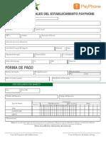 Formulario de Datos Establecimiento en La Red PayPhone