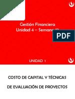 Unidad 4 -  Costo de capital y técnicas de evaluación de proyectos - semana 12.pptx