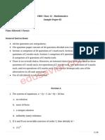 CBSE Mathematics Sample Paper 3 -2020
