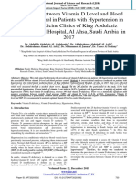 Association between Vitamin D Level and Blood Pressure Control in Patients with Hypertension in Family Medicine Clinics of King Abdulaziz National Guard Hospital, Al Ahsa, Saudi Arabia  in 2017