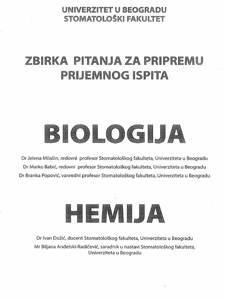 Zbirka Pitanja Za Pripremu Prijemnog Ispita Biologija Hemija Stomatoloski Fakultet