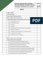 Indice de Dossier Calidad - Estructura