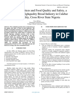 Sanitation Practices and Food Quality and Safety, a Case Study of Highquality Bread Industry in Calabar  Municipality, Cross River State Nigeria