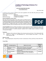 CHE F342 Process Dynamics  and Control IISem2019-20
