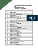 CRONOGRAMA DA ESCOLA BÍBLICA DOMINICAL 2020