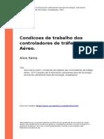 Alice Itania (2007). Condicoes de trabalho dos controladores de trafego Aereo