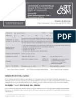 Plan de la materia de Diseño Editorial 2020
