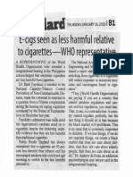 Manila Standard, Jan. 16, 2020, E-cigs seen as  less harmful relative to cigarettes - WHO representative.pdf