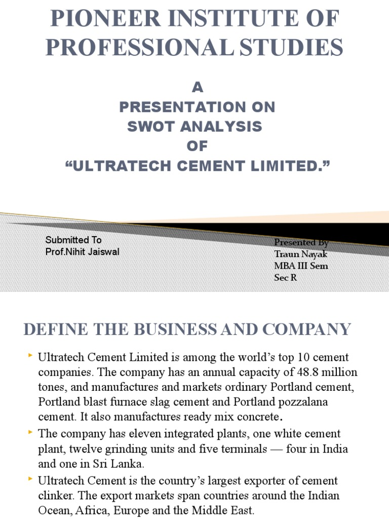 swot analysis of ultratech cement