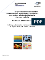 The method-specific certification of the cholesterol and triglyceride contents of a pure and an adulterated butter fat reference material