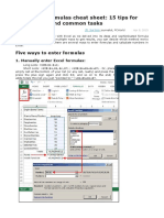 Your Excel formulas cheat sheet - 15 tips for calculations and common tasks