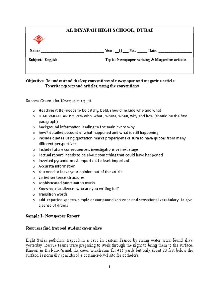 Success Criteria For Newspaper Writing-29  PDF  Newspapers  Writers