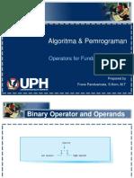 Algoritma & Pemrograman 01 Operators for Fundamental Types v1.1