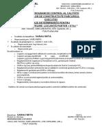 PROGRAM DE CONTROL AL CALITĂȚII PE FAZE  DETERMINATE SARAU MITA