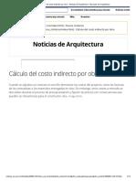 Cálculo del costo indirecto por obra - Noticias de Arquitectura - Buscador de Arquitectura