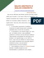 TRABALHO ABSTRATO E TRABALHO CONCRETO