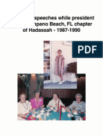 Rose Sutz speeches while president of the Pompano Beach, FL chapter of Hadassah - 1987-1990