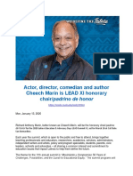 LRL Actor Director Comedian and Author Cheech Marin is LEAD XI Honorary Chairpadrino de Honor - LEAD Summit 2020 Thursday March 26th - Campus of Cal State San Bernardino