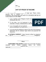 AFFIDAVIT OF PROOF OF INCOME - PhilHealth