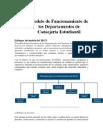 Modelo de Funcionamiento de los Departamentos de Consejería Estudiantil