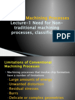 L-1 Need for Non-traditional machining processes, classification