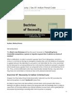 Doctrine of Necessity  Sec 81 Indian Penal Code