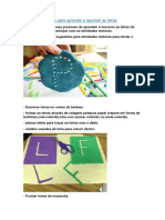 Atividades motoras para aprender a escrever as letras