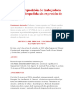 PROCEDE REPOSICION DE TRABAJADORES DEL HOGAR DESPEDIDA SIN EXPRESION DE CAUSA