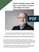 Un Libro Su Carmelo Di Bartolo, Pioniere Della Bionica e Design. Lo IED Celebra i 40 Anni Di Carriera Del Designer Ricercatore