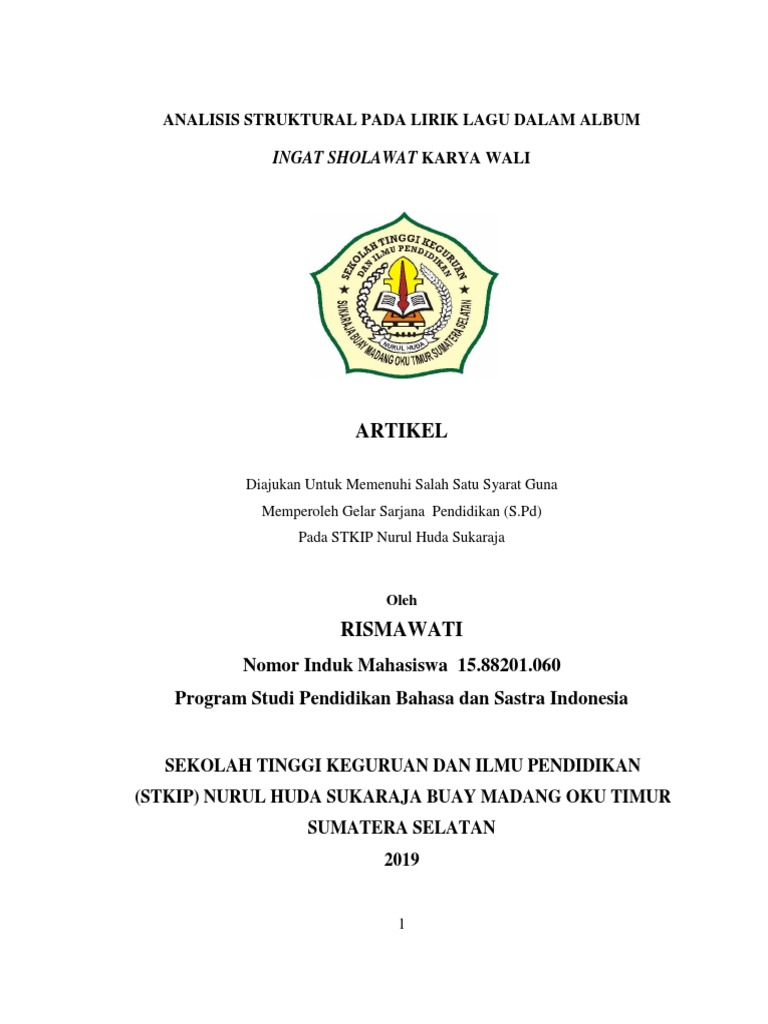 Jurnal Skripsi Tibran Analisis Struktural Pada Lirik Lagu Dalam Album Ingat Sholawat Karya Wali