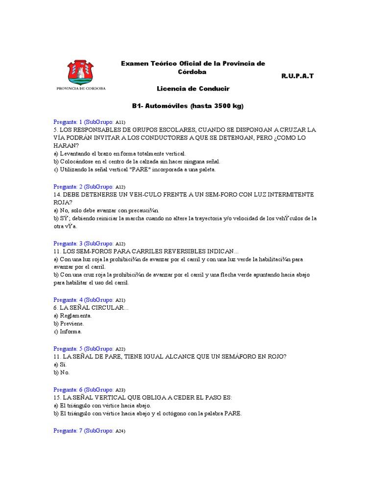 Examen Teorico Oficial De La Provincia De Cordoba