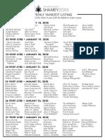 January 18, 2020 Yahrzeit List