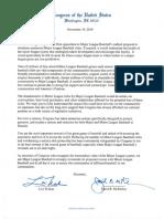 Minor League Baseball letter from Congress