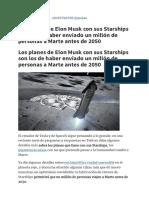 Los planes de Elon Musk con sus Starships son los de haber enviado un millón de personas a Marte antes de 2050