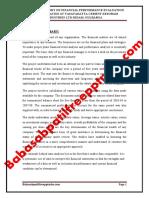 A PROJECT REPORT ON FINANCIAL PERFORMANCE EVALUATION WITH KEY RATIOS  AT VASAVADATTA CEMENT KESORAM INDUSTRIES LTD SEDAM GULBARGA