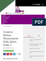 Common Kitchen Measurements (Dals, Spices, Fruits..)