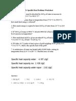 Specific Heat Worksheet