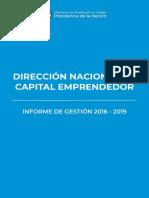Dirección Nacional de Capital Emprendedor - Informe de Gestión 2016 - 2019
