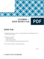 Export Business Plan Guidelines
