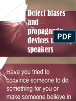 Detect biases and propaganda devices used by speakers