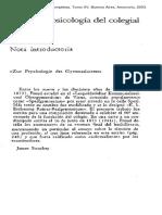 Freud, Sigmund. Sobre la psicología del colegial (1914)